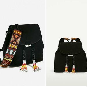NWT Zara Black Split Suede Beaded Tassel Backpack